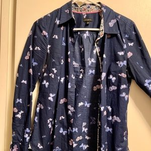 Talbots butterfly button down blouse